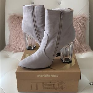 NWT Charlotte Russe Grey Suede PU Ranker-01 Ankle